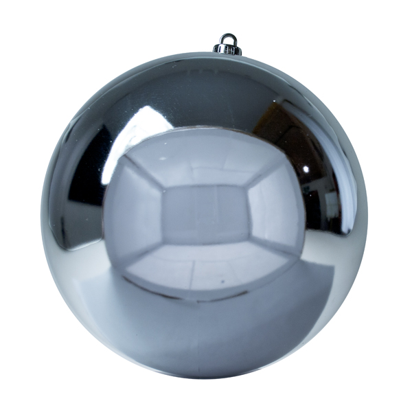 Luxury Silver Shiny Finish Shatterproof Bauble Range - Single 250mm