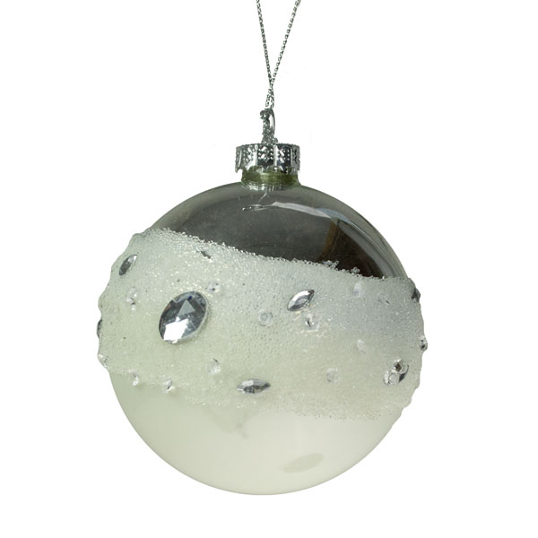Scatter Jewel Ivory Glass Ball - 80mm