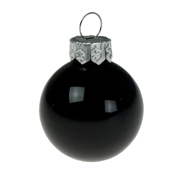 Pack Of 64 x 40mm Shiny Black Glass Baubles