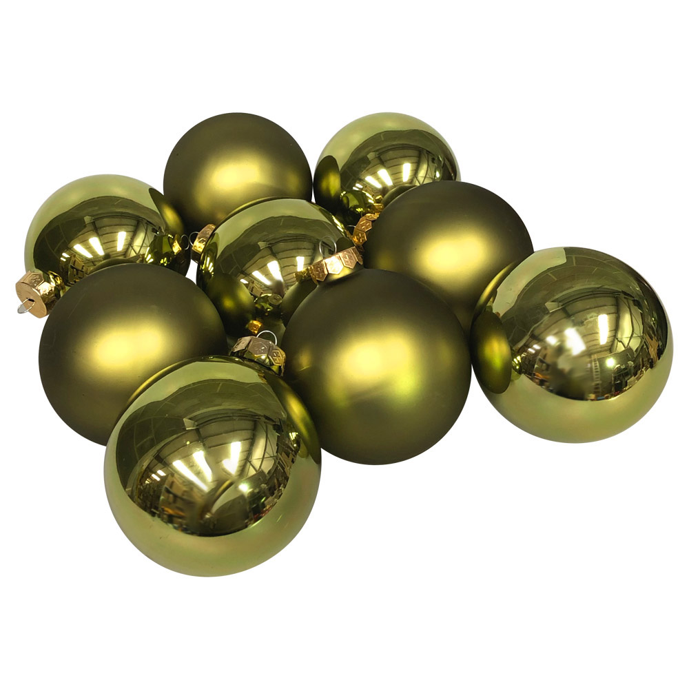 Green Matt & Shiny Glass Baubles - 9 x 100mm