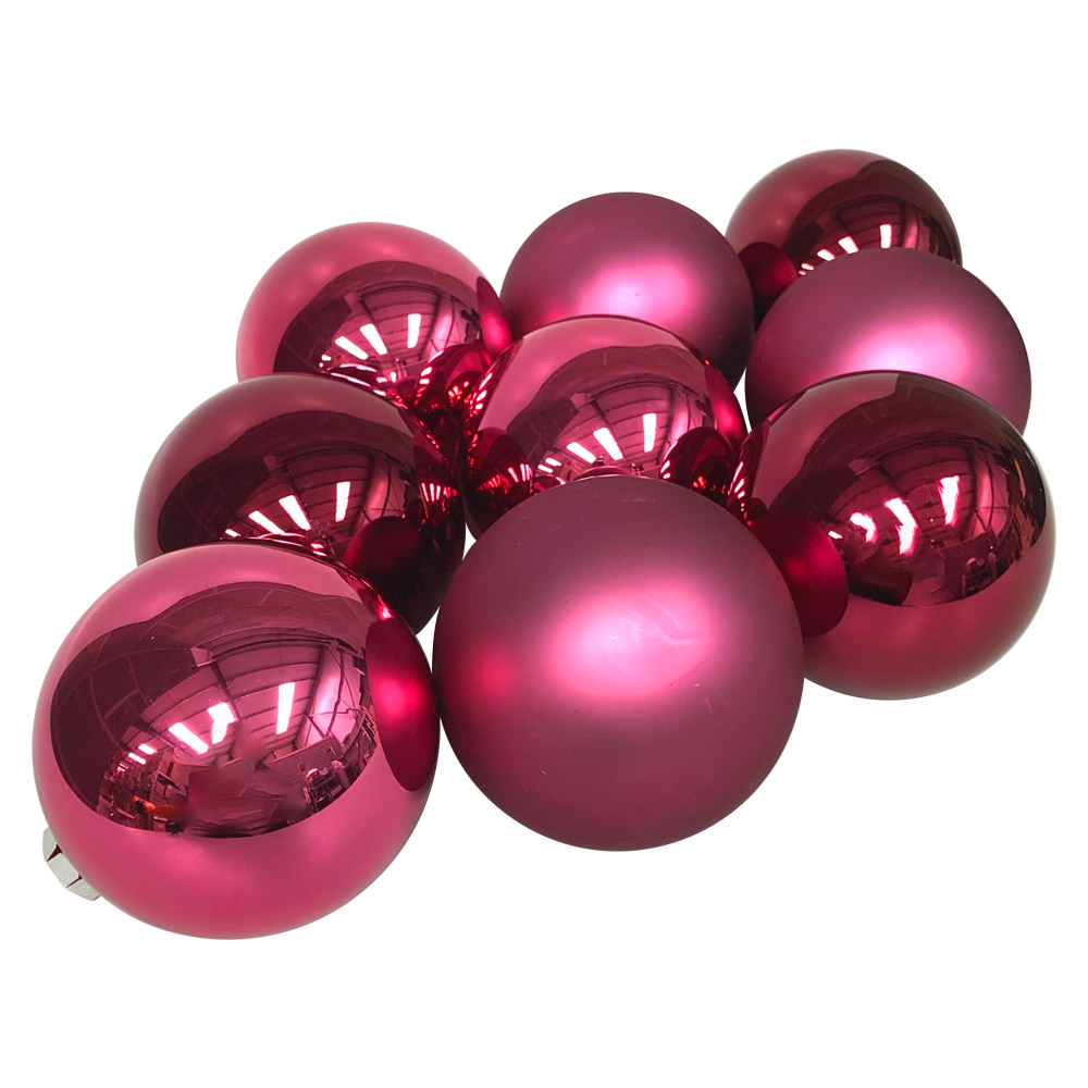 Heather Matt & Shiny Glass Baubles - 9 x 100mm