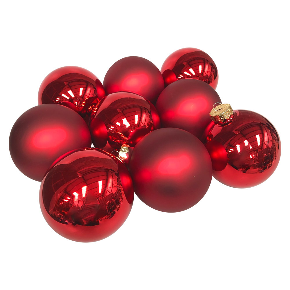 Red Matt & Shiny Glass Baubles - 9 x 100mm