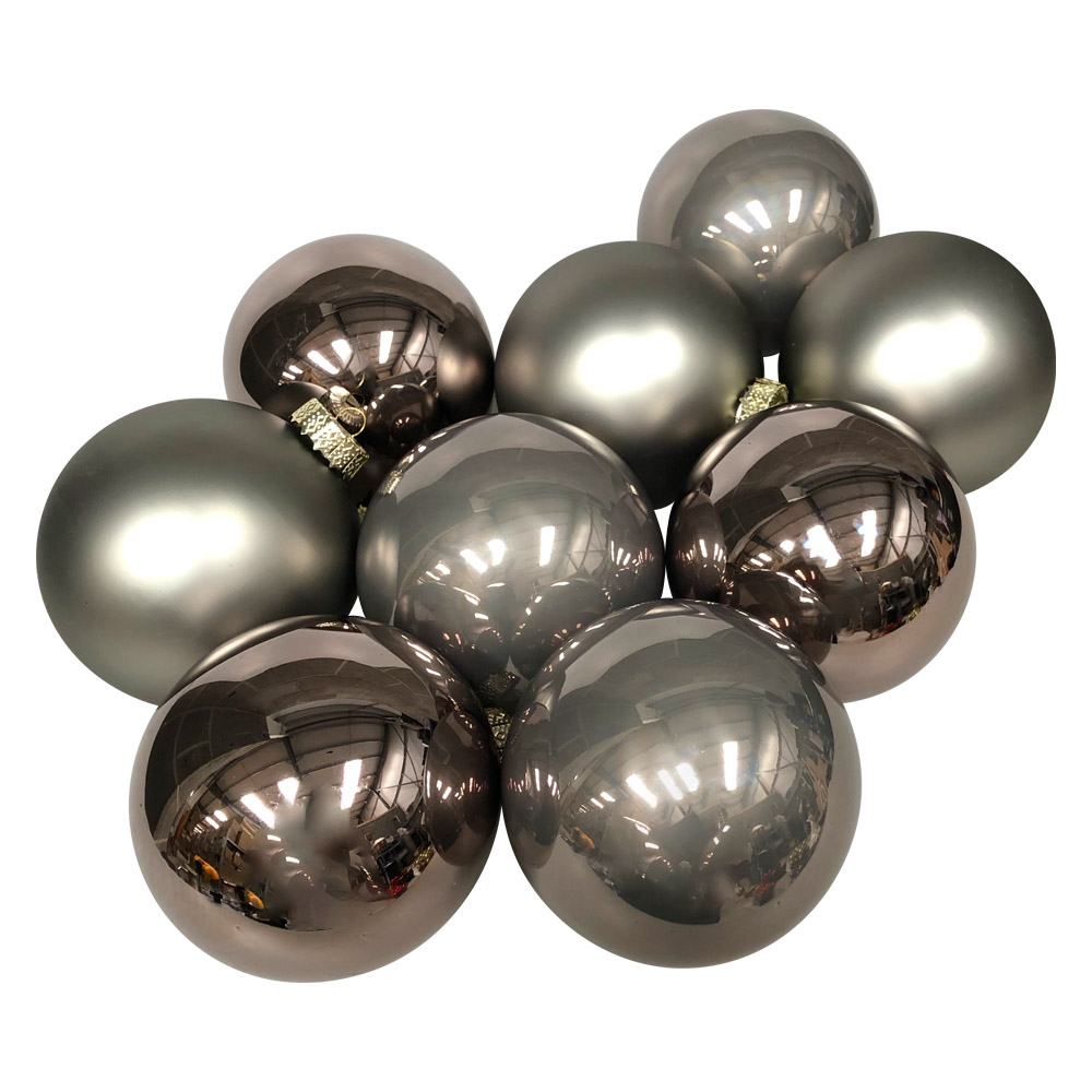 Slate Grey Matt & Shiny Glass Baubles - 9 x 100mm
