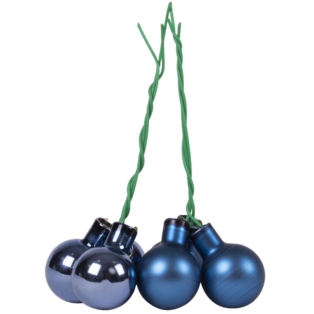 Dark Blue Matt & Shiny Glass Baubles - 144 x 20mm