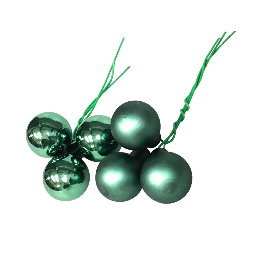 Lake Green Matt & Shiny Glass Baubles - 144 x 20mm