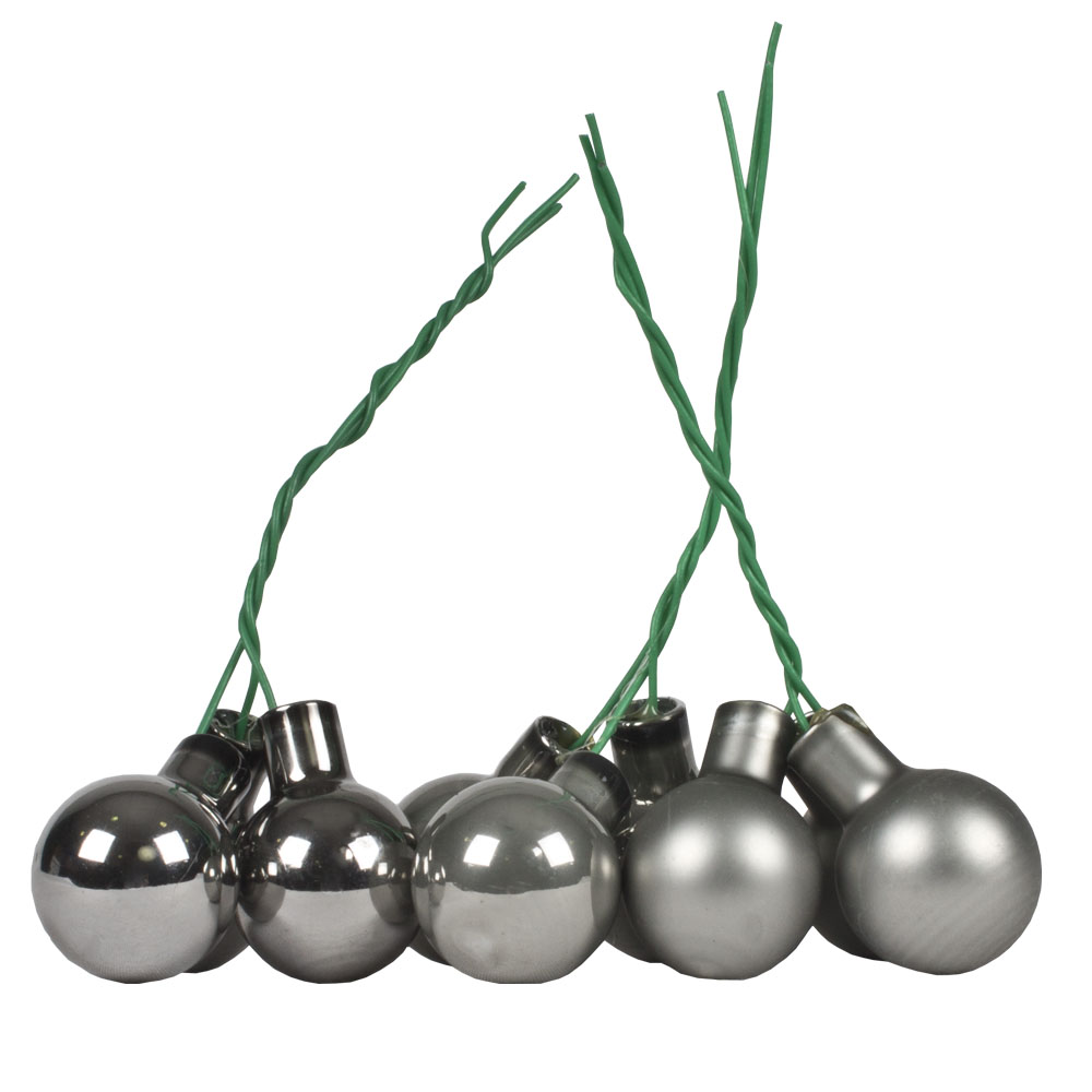 Slate Grey Matt & Shiny Glass Baubles - 144 x 20mm