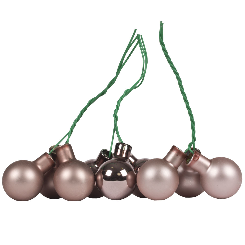 Smokey Rose Matt & Shiny Glass Baubles - 144 x 20mm