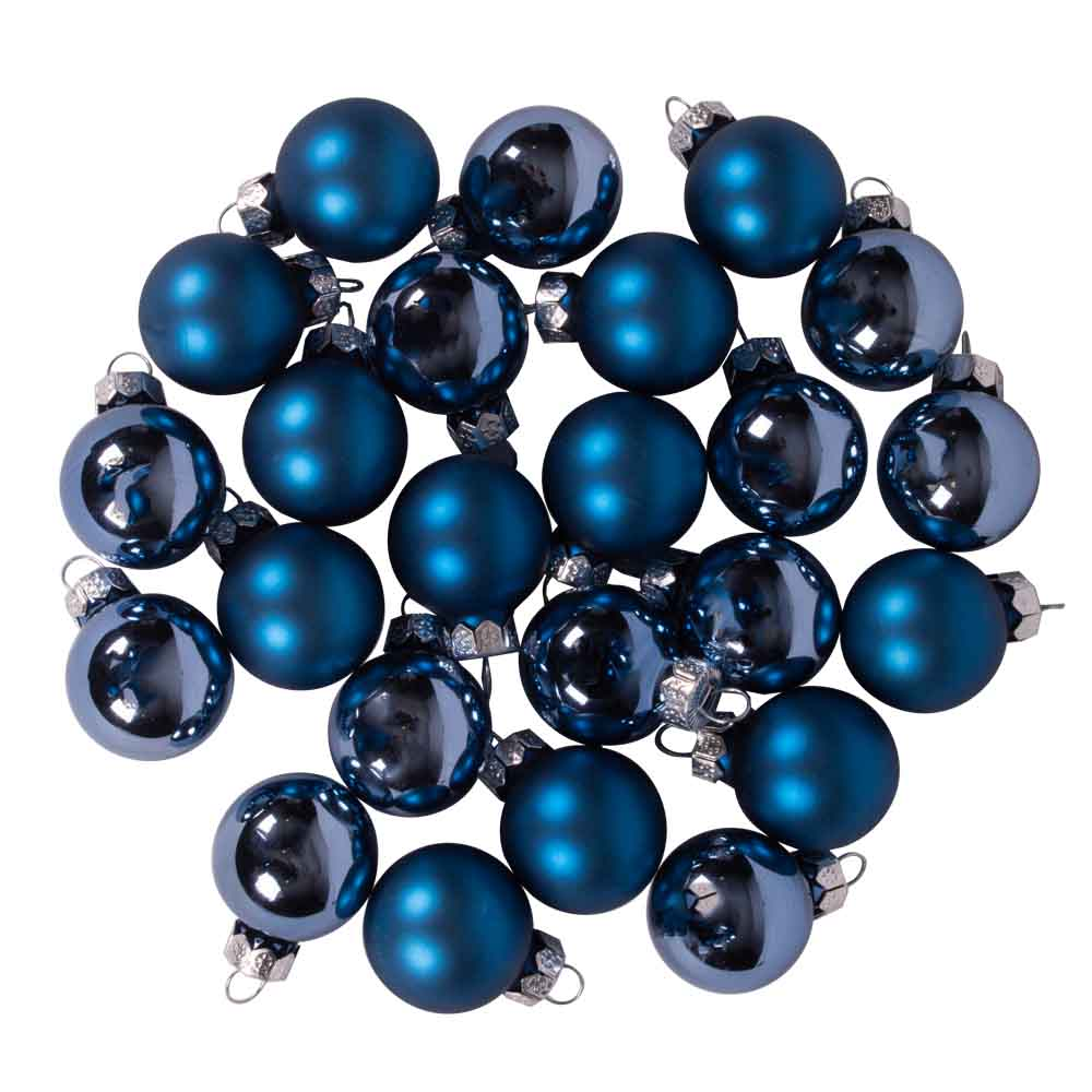 Dark Blue Matt & Shiny Glass Baubles - 24 x 25mm