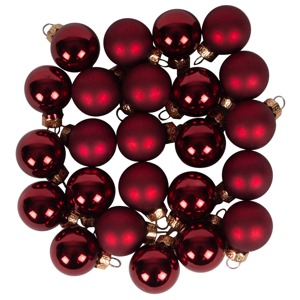 Dark Red Matt & Shiny Glass Baubles - 24 x 25mm
