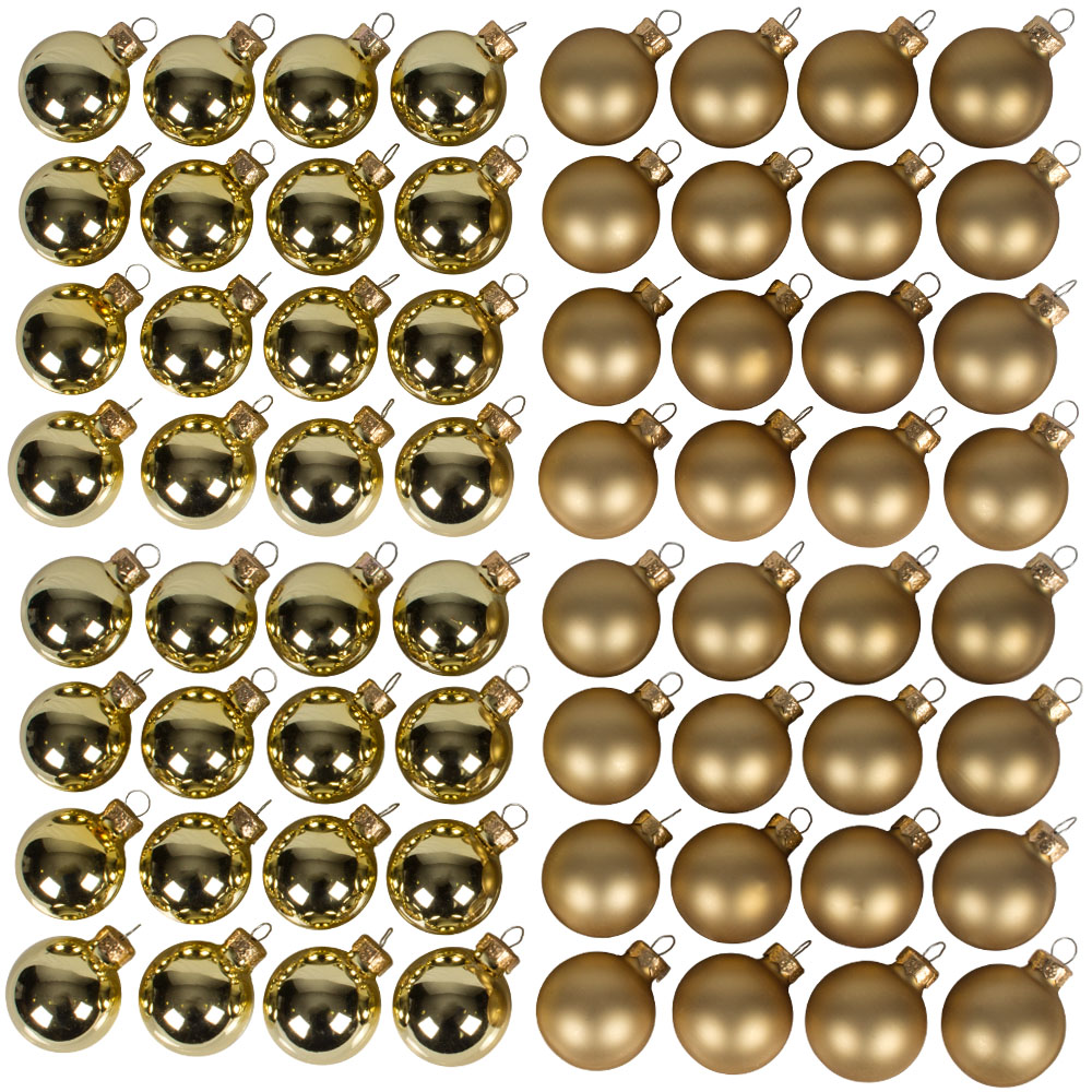 Gold Matt & Shiny Glass Baubles - 64 x 40mm