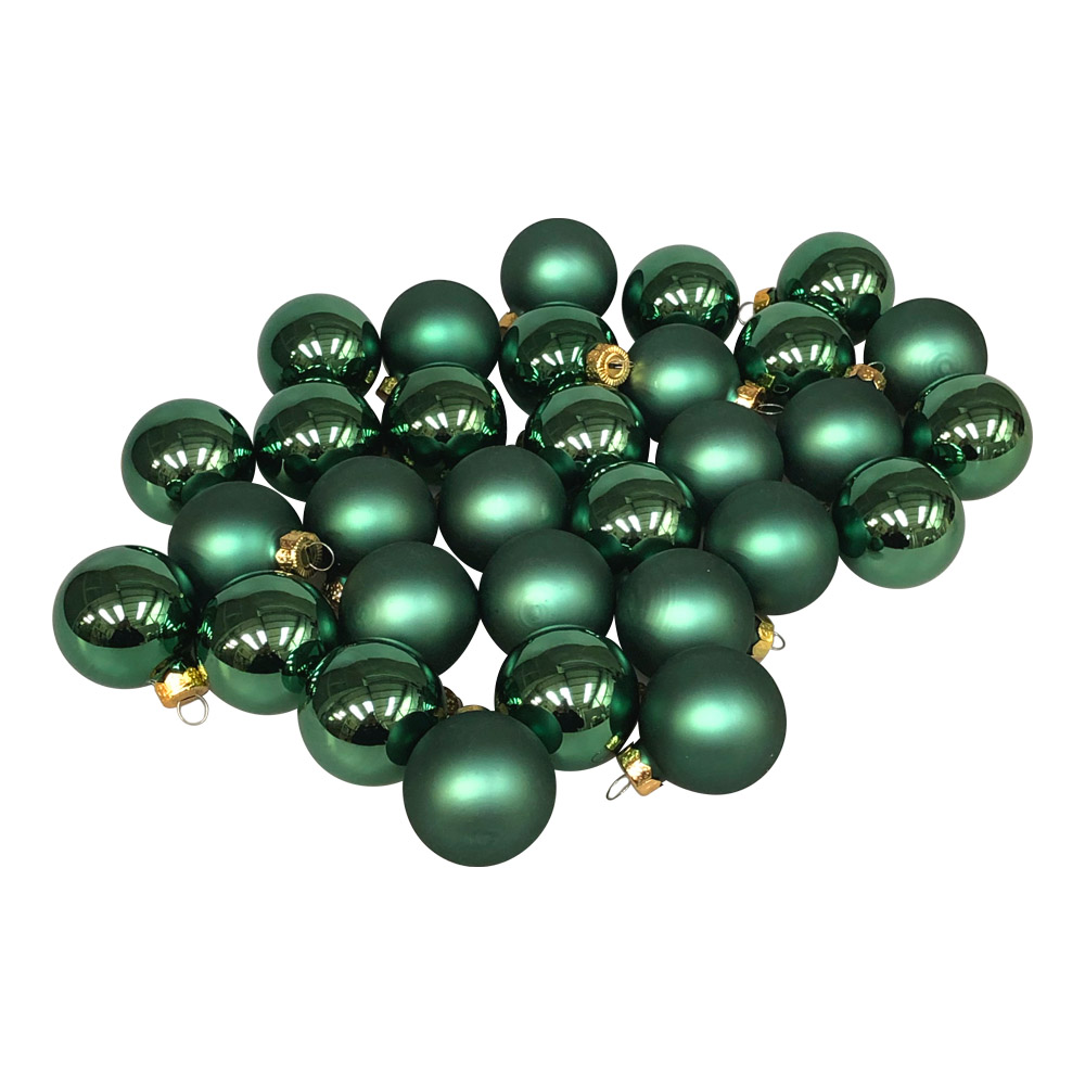 Lake Green Matt & Shiny Glass Baubles - 64 x 40mm