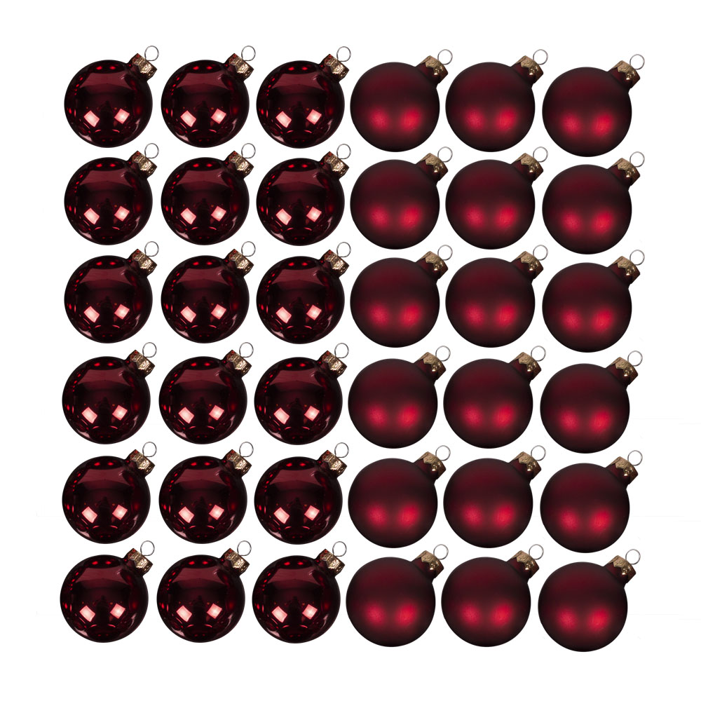 Dark Red Matt & Shiny Glass Baubles - 36 x 57mm
