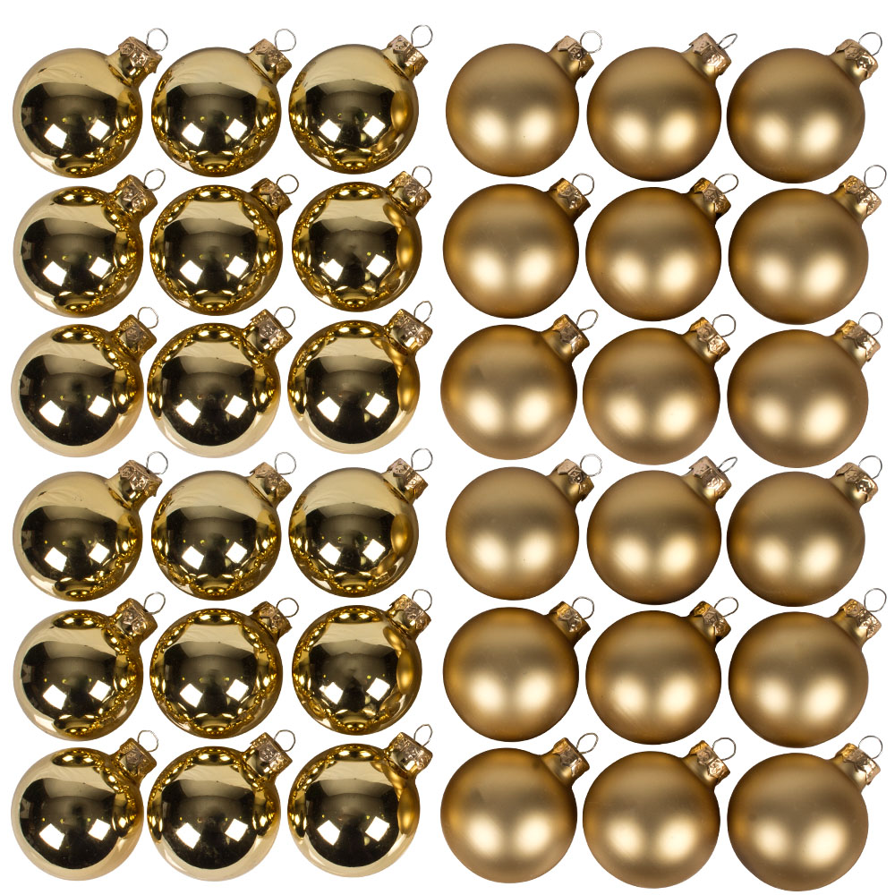 Gold Matt & Shiny Glass Baubles - 36 x 57mm