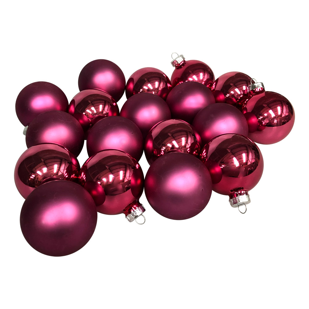 Heather Pink Matt & Shiny Glass Baubles - 36 x 57mm
