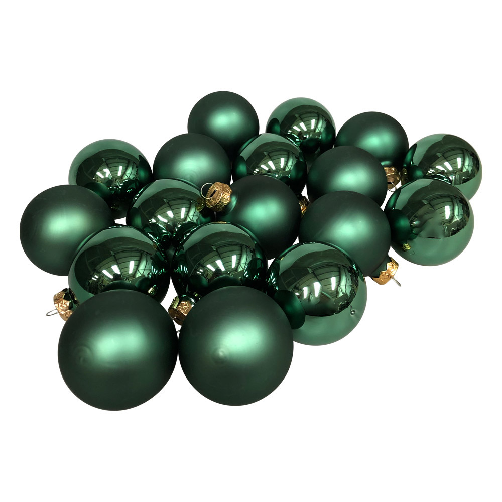 Lake Green Matt & Shiny Glass Baubles - 36 x 57mm