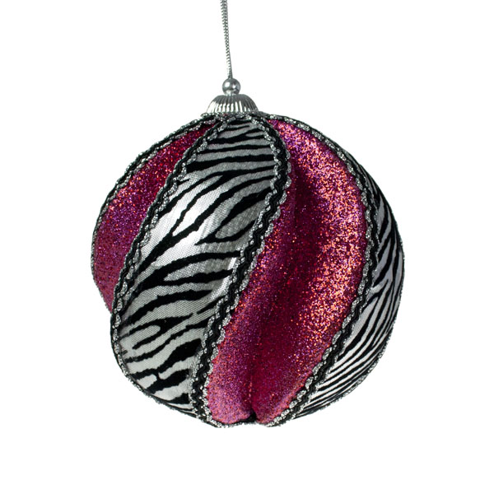 Silver & Fuchsia 120mm Zebra Design Deluxe Swirl Ball