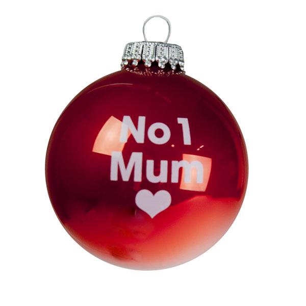 Santa Balls Red No 1 Mum Glass Bauble - 1 x 60mm