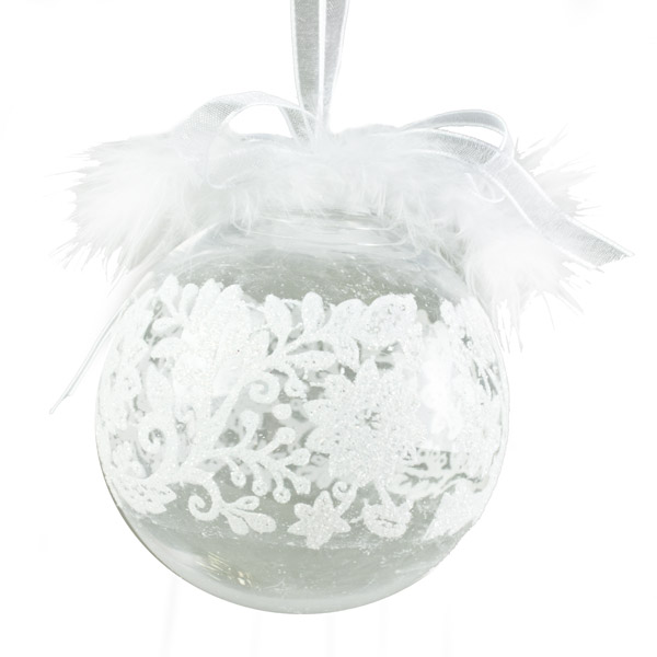 Feather Decorated Clear Seamless Bauble With Lace Effect Pattern - 85mm