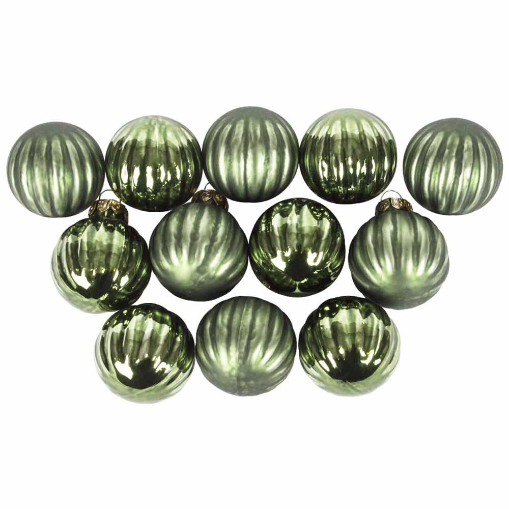 Dark Green Ribbed Glass Baubles - 12 x 3cm