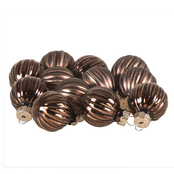 Truffle Brown Ribbed Glass Baubles - 12 x 4cm