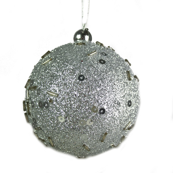 Silver Beaded Sparkle Bauble Hanger - 8cm