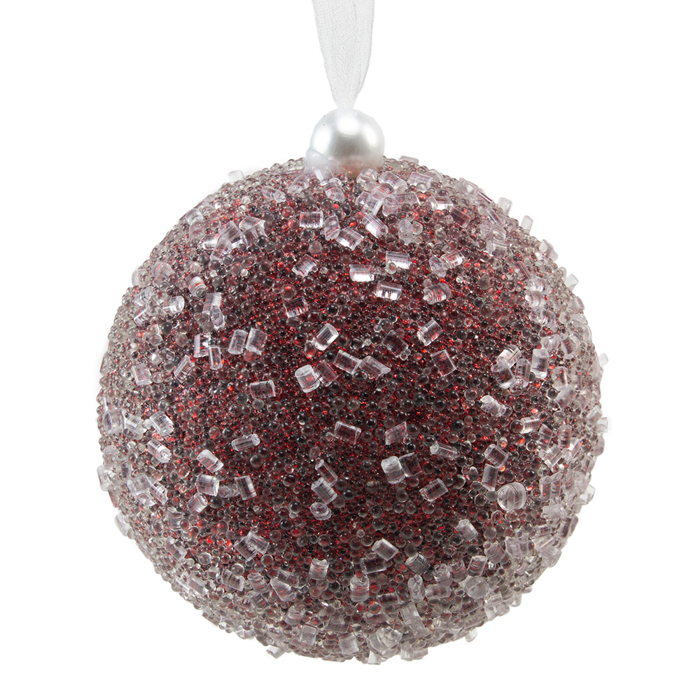 Dark Red Sequin Sparkle Bauble - 8cm