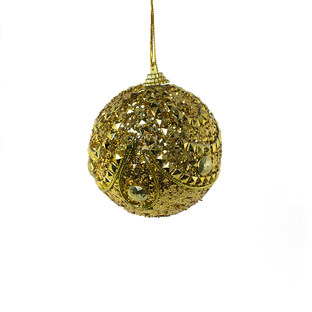 Gold With Gold Beads Sequin Sparkle Bauble - 8cm