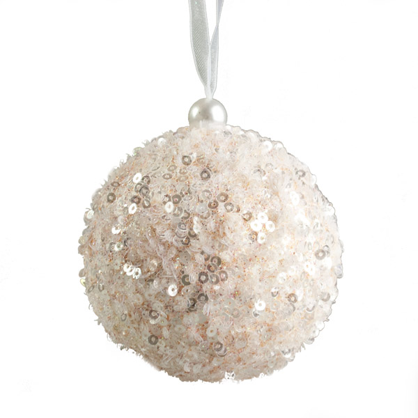 Blush Pink Sequin Sparkle Bauble 8cm Christmas Time Uk
