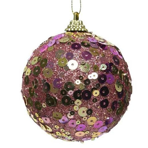 Velvet Pink Sequin Sparkle Bauble - 8cm