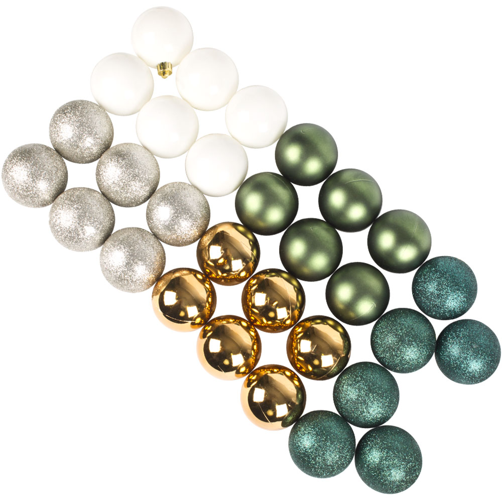 Ivory, Dove Grey, Dark Green, Dark Gold & Emerald Green Assorted Shatterproof Baubles - 30 x 60mm