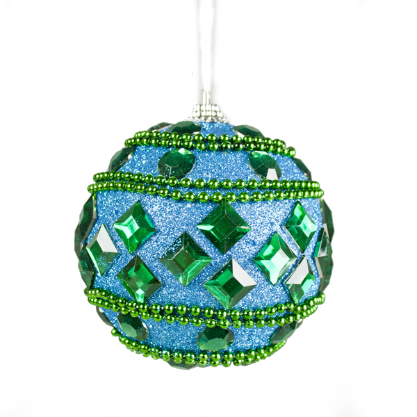 Gisela Graham Beaded Peacock Bauble With Jewels - 90mm