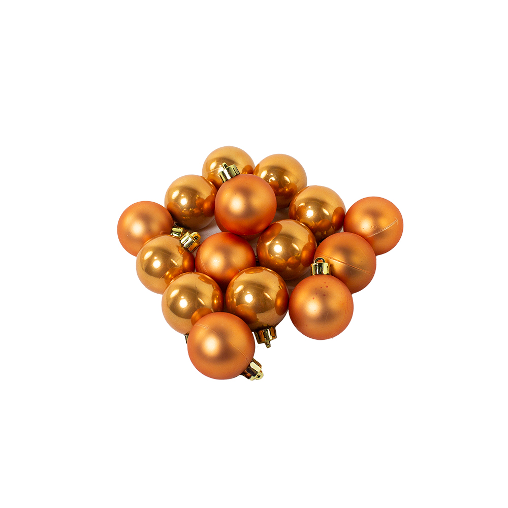 Amber Gold Fashion Trend Shatterproof Baubles - Pack Of 16 x 40mm