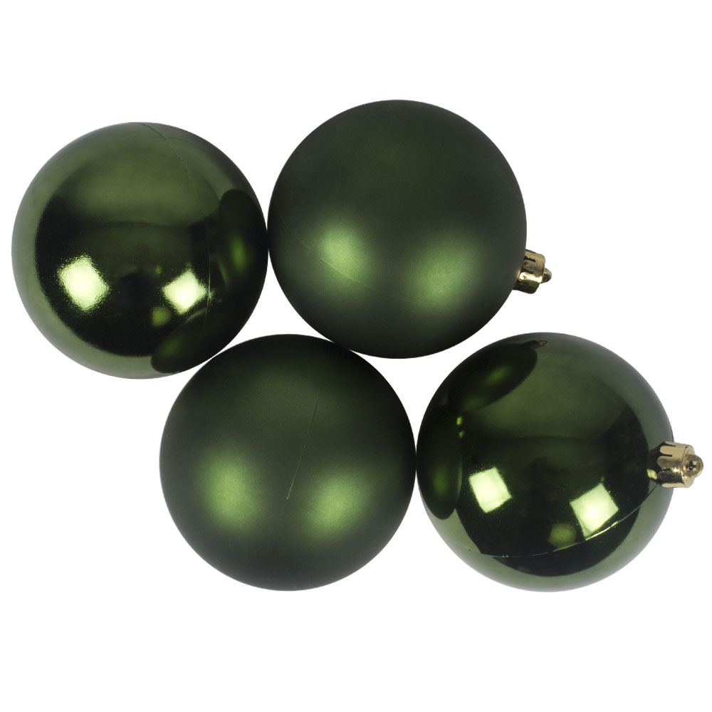 Dark Green Fashion Trend Shatterproof Baubles - Pack Of 4 x 100mm