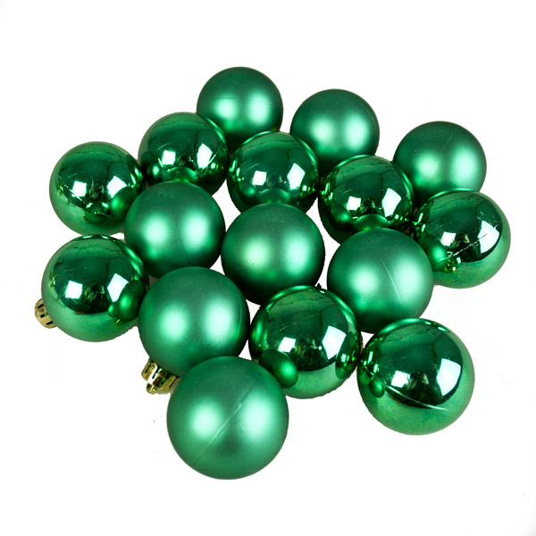 Emerald Green Fashion Trend Shatterproof Baubles - Pack Of 16 x 40mm