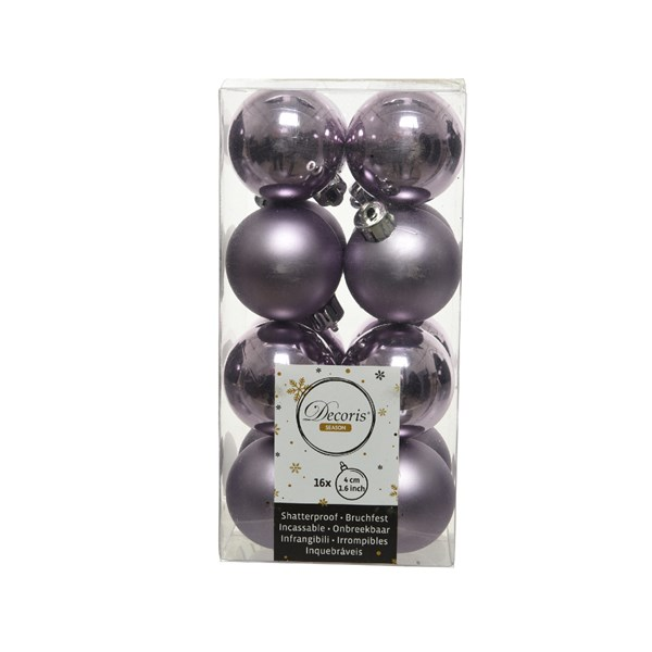 Frosted Lilac Fashion Trend Shatterproof Baubles - Pack Of 16 x 40mm