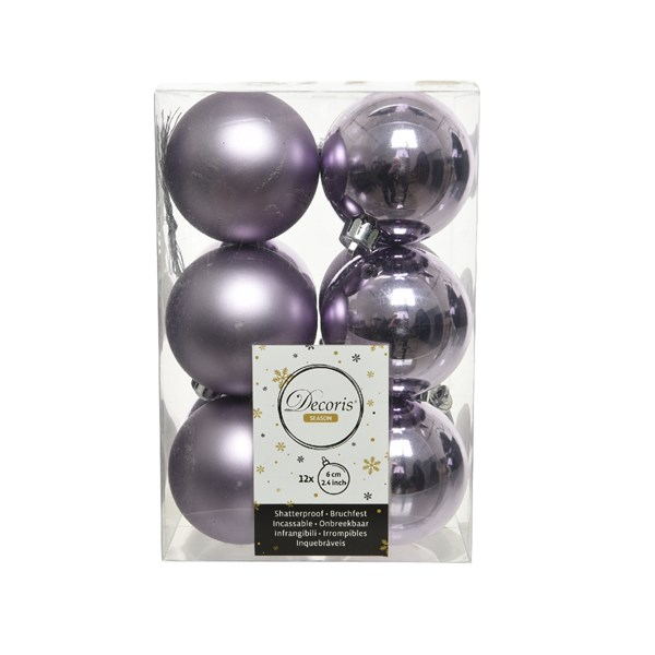 Frosted Lilac Fashion Trend Shatterproof Baubles - Pack Of 12 x 60mm