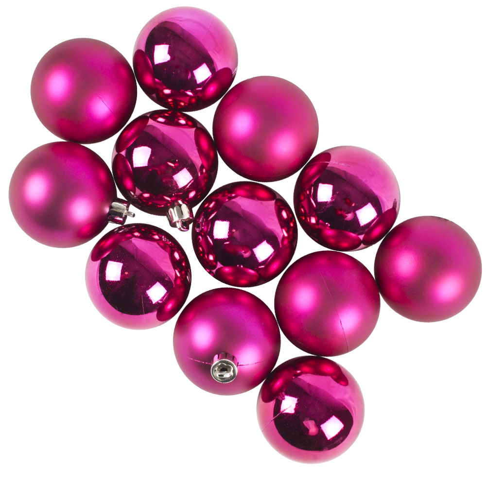 Fuchsia Fashion Trend Shatterproof Baubles - Pack Of 12 x 60mm
