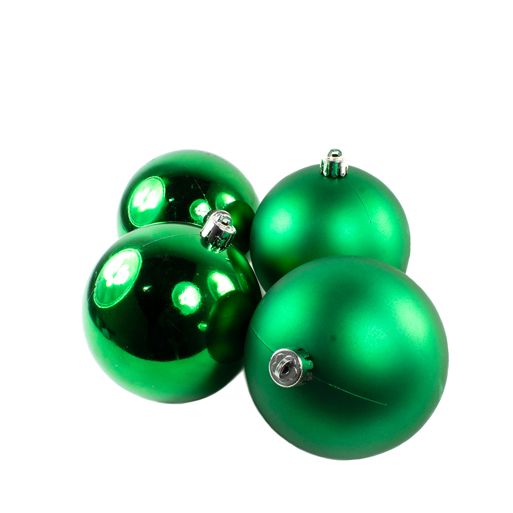 Holly Green Fashion Trend Shatterproof Baubles - Pack Of 4 x 100mm