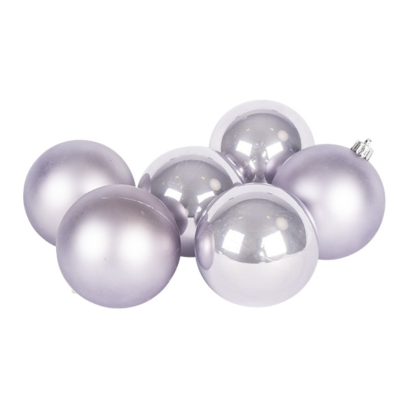 Lilac Mist Fashion Trend Shatterproof Baubles - Pack Of 6 x 80mm
