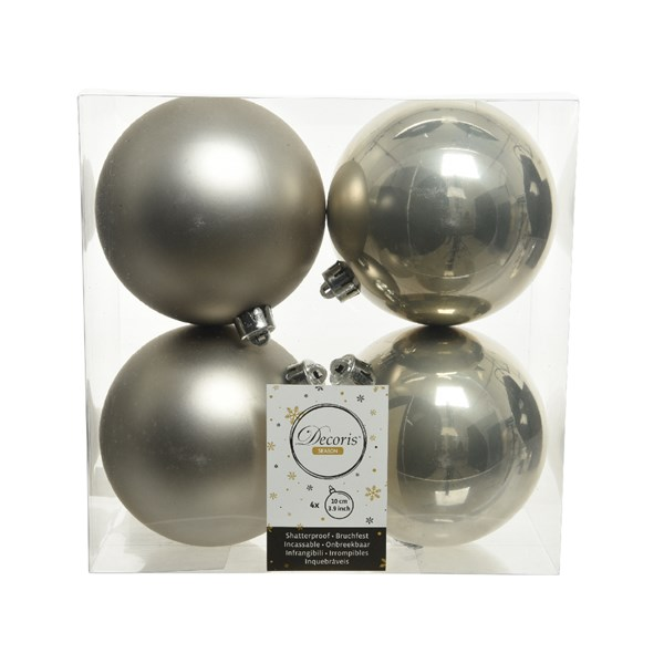 Misty Grey Fashion Trend Shatterproof Baubles - Pack Of 4 x 100mm