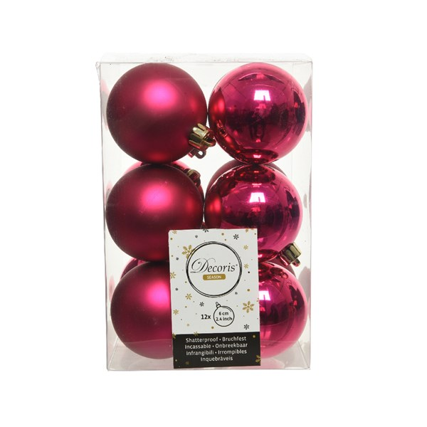 Magenta Pink Fashion Trend Shatterproof Baubles - Pack Of 12 x 60mm