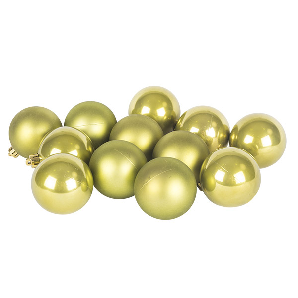 Olive Green Fashion Trend Shatterproof Baubles - Pack Of 12 x 60mm