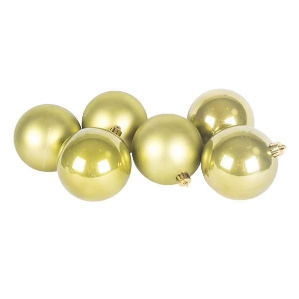 Olive Green Fashion Trend Shatterproof Baubles - Pack Of 6 x 80mm