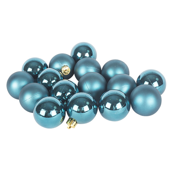 Petrol Blue Fashion Trend Shatterproof Baubles - Pack of 16 x 40mm