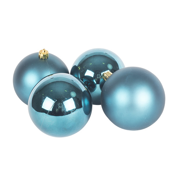 Petrol Blue Fashion Trend Shatterproof Baubles - Pack Of 4 x 100mm