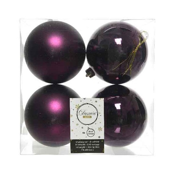 Royal Purple Fashion Trend Shatterproof Baubles - Pack Of 4 x 100mm