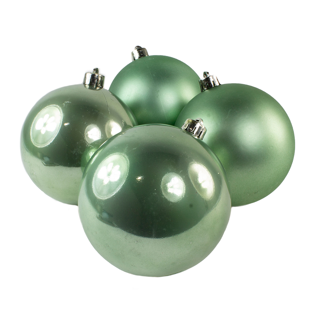 Sage Green Fashion Trend Shatterproof Baubles - Pack Of 4 x 100mm