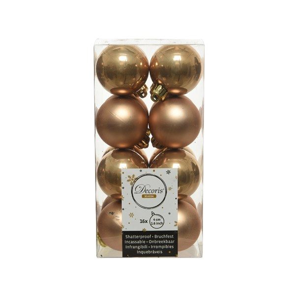 Soft Caramel Fashion Trend Shatterproof Baubles - Pack Of 16 x 40mm