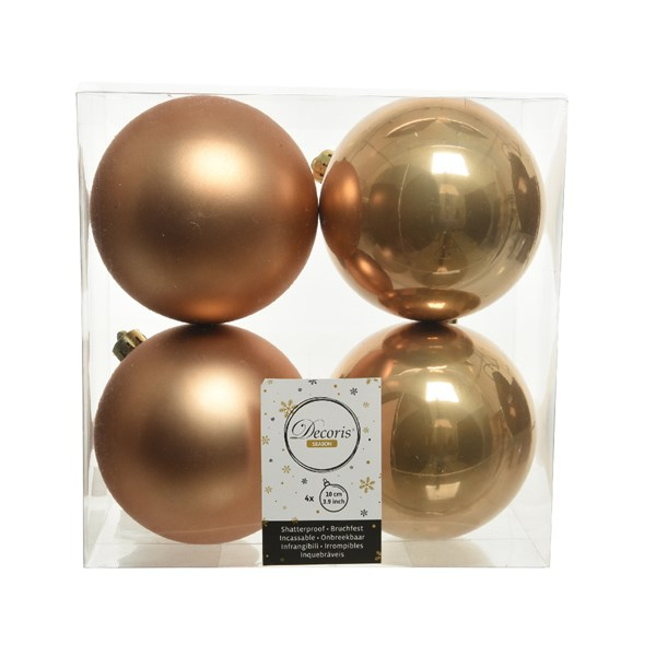 Soft Caramel Fashion Trend Shatterproof Baubles - Pack Of 4 x 100mm