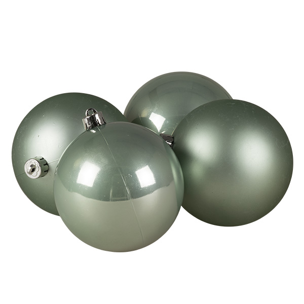 Pale Sage Green Fashion Trend Shatterproof Baubles - Pack Of 4 x 100mm